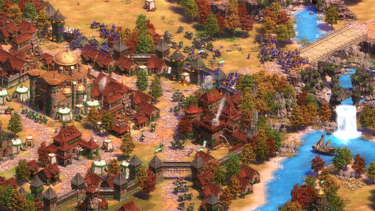 A screenshot of a town in Age of Empires II: Definitive Edition.