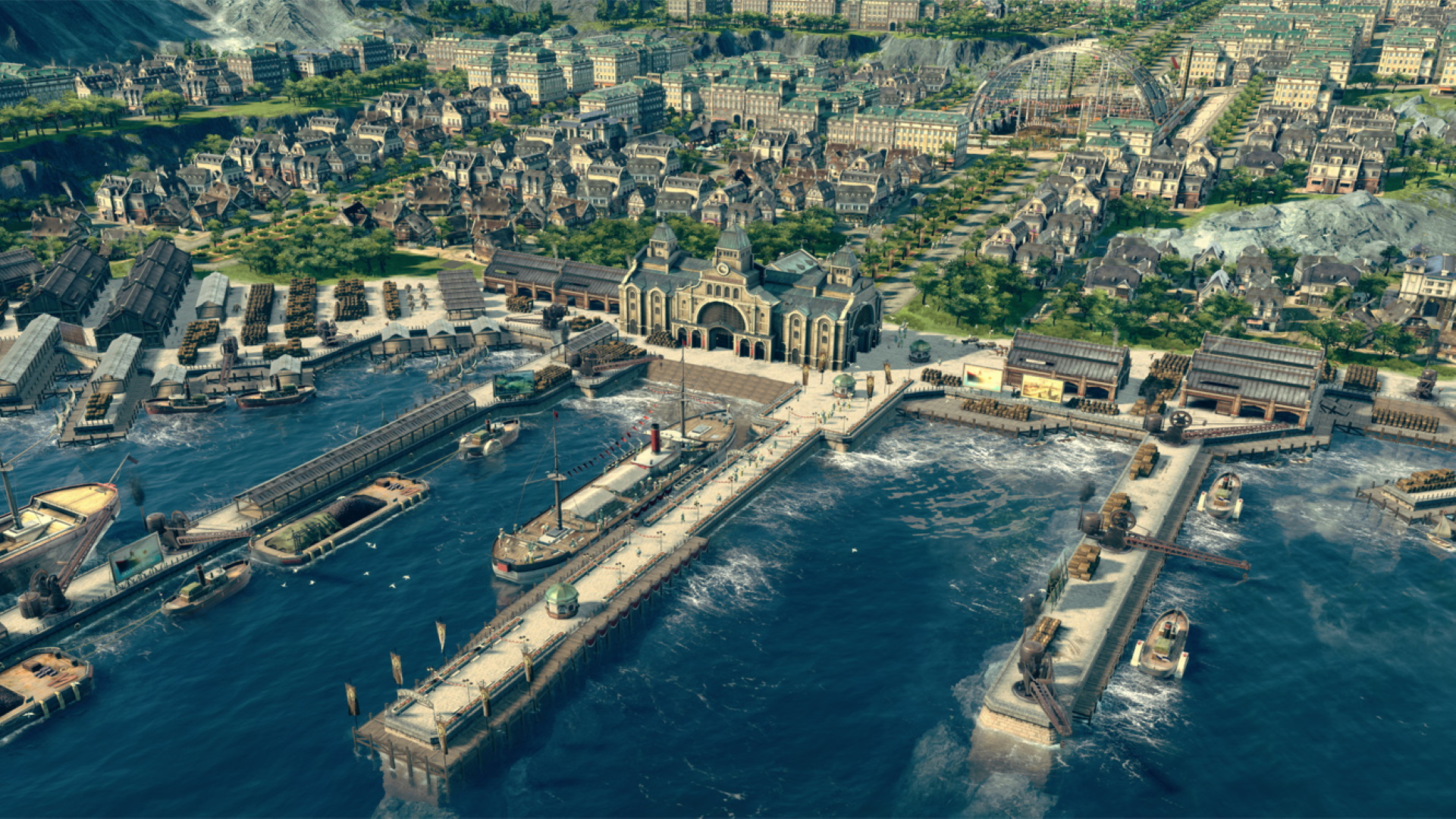 A screenshot of a large ship docking in a developed port in Anno 1800.