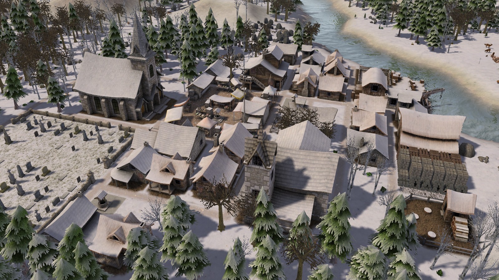 A screenshot of a small, village homestead in Banished.