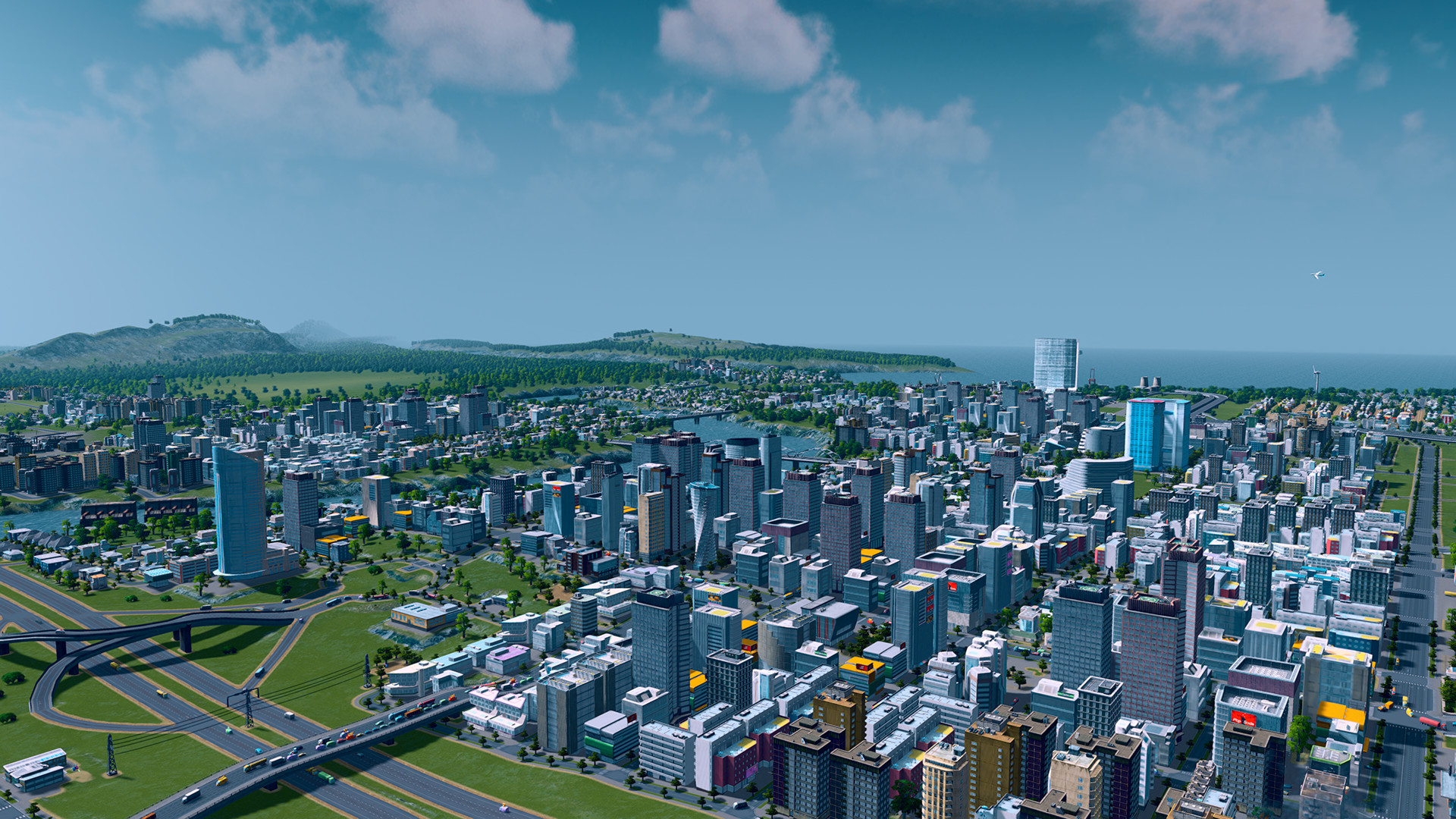 A screenshot of an urban landscape in Cities Skylines.