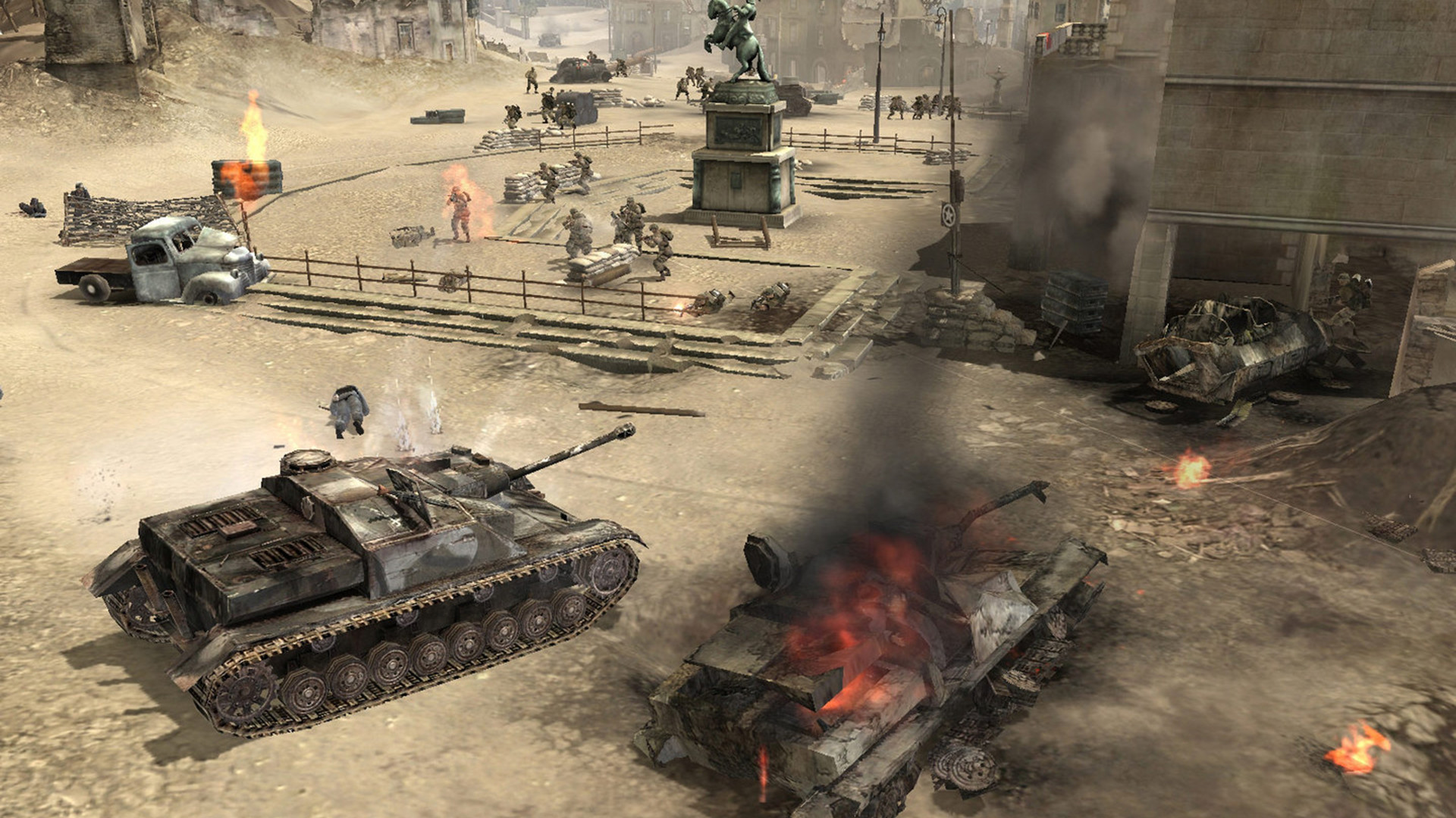 A screenshot of tank warfare in Company Of Heroes.