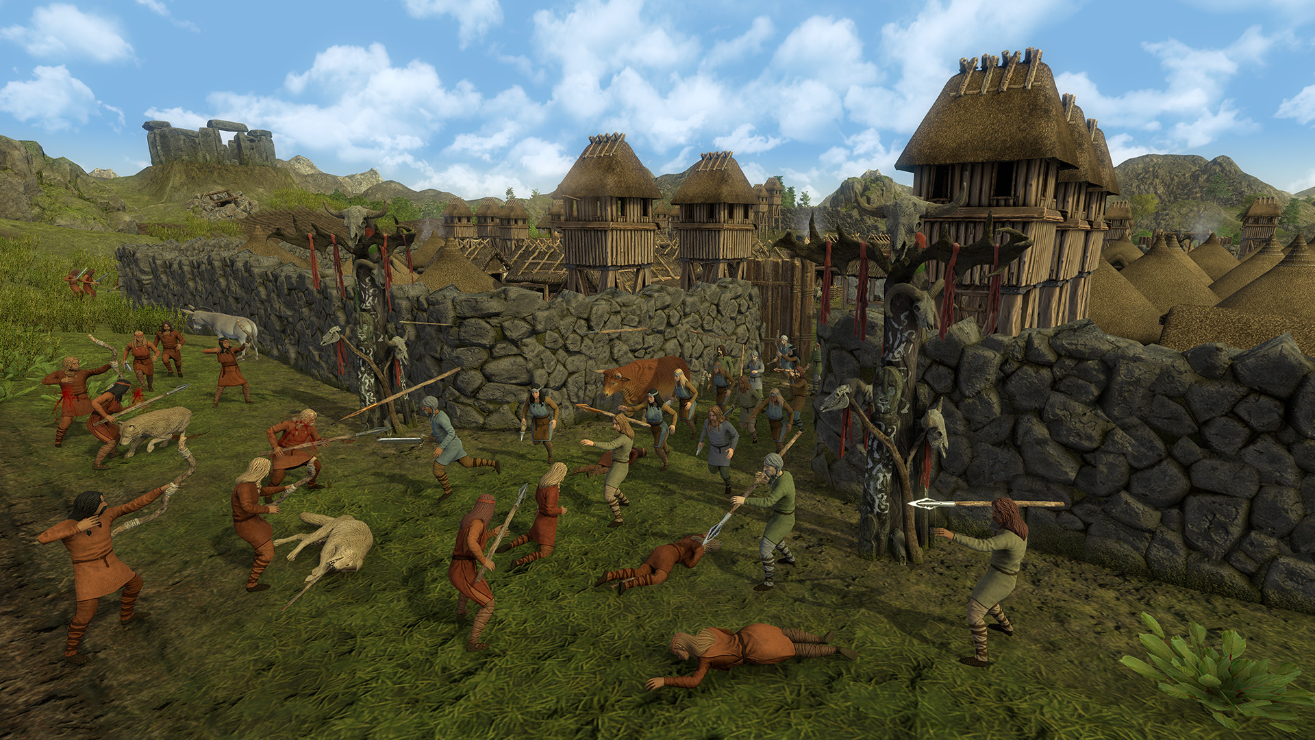 A screenshot of villagers defending their town from invasion in Dawn Of Man.