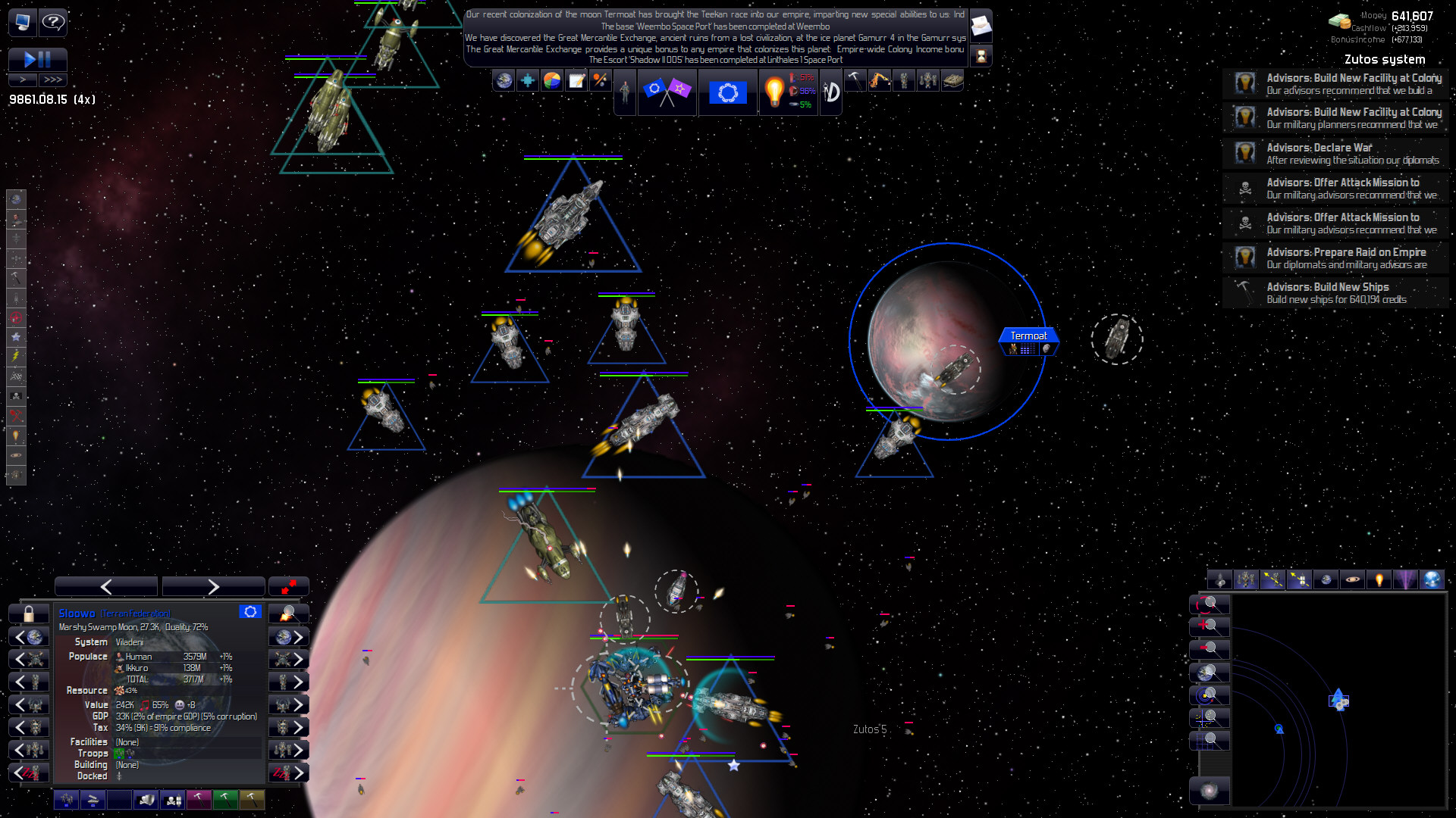 A screenshot of ships and planets in Distant Worlds: Universe.