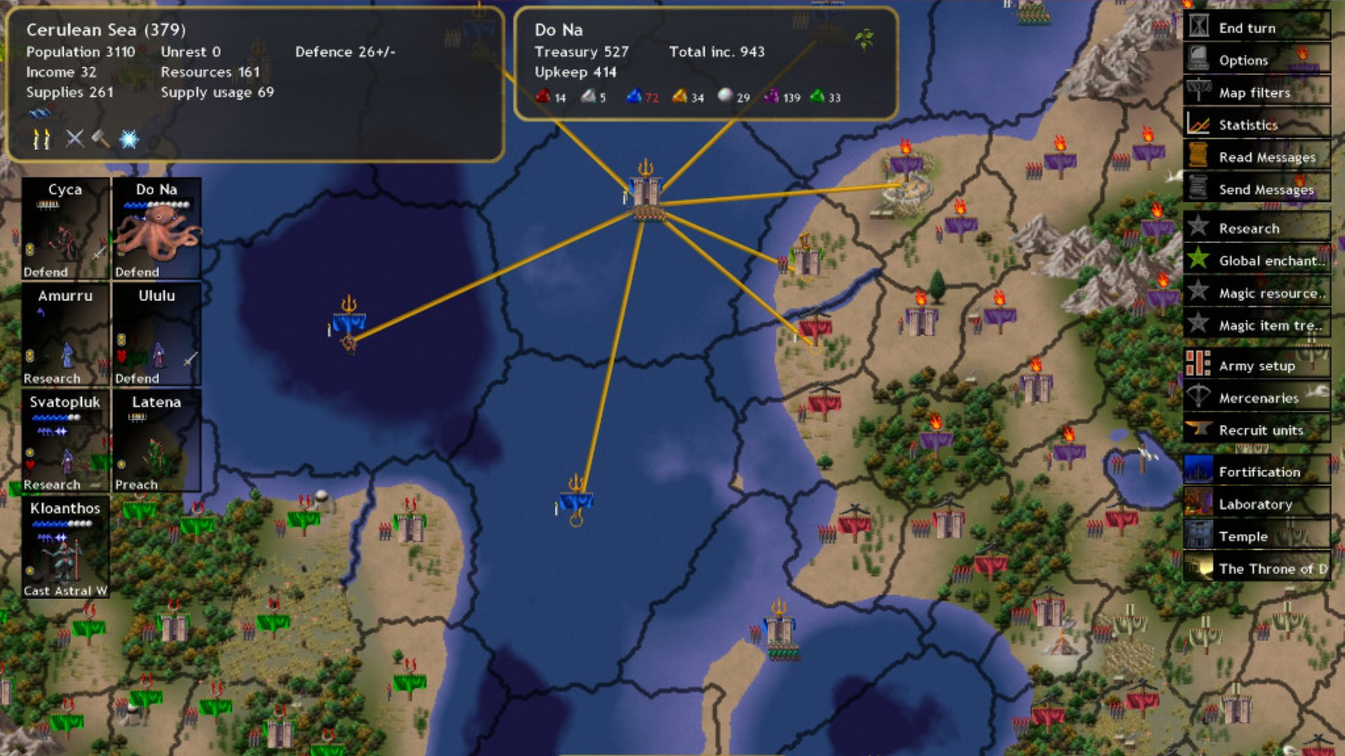 A screenshot of the campaign map in Dominions IV.