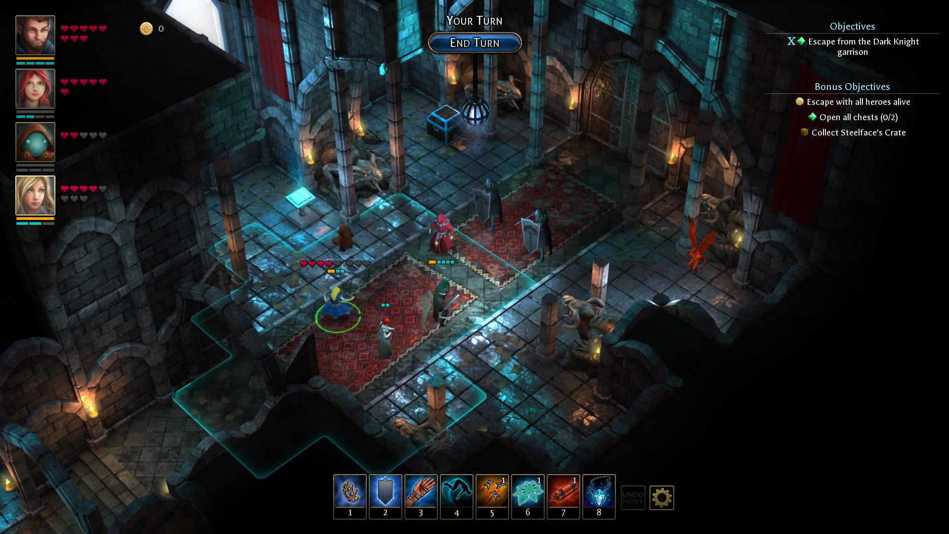 A screenshot of a battle inside a church in Druidstone: Secret of the Menhir Forest.