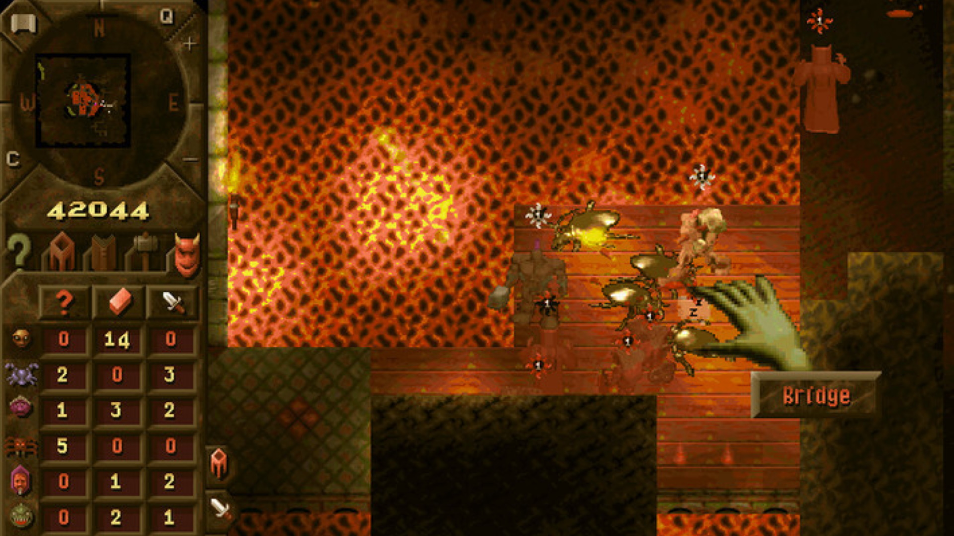 A screenshot showing just some of the horrible beasties you'll manage in Bullfrog's Dungeon Keeper.