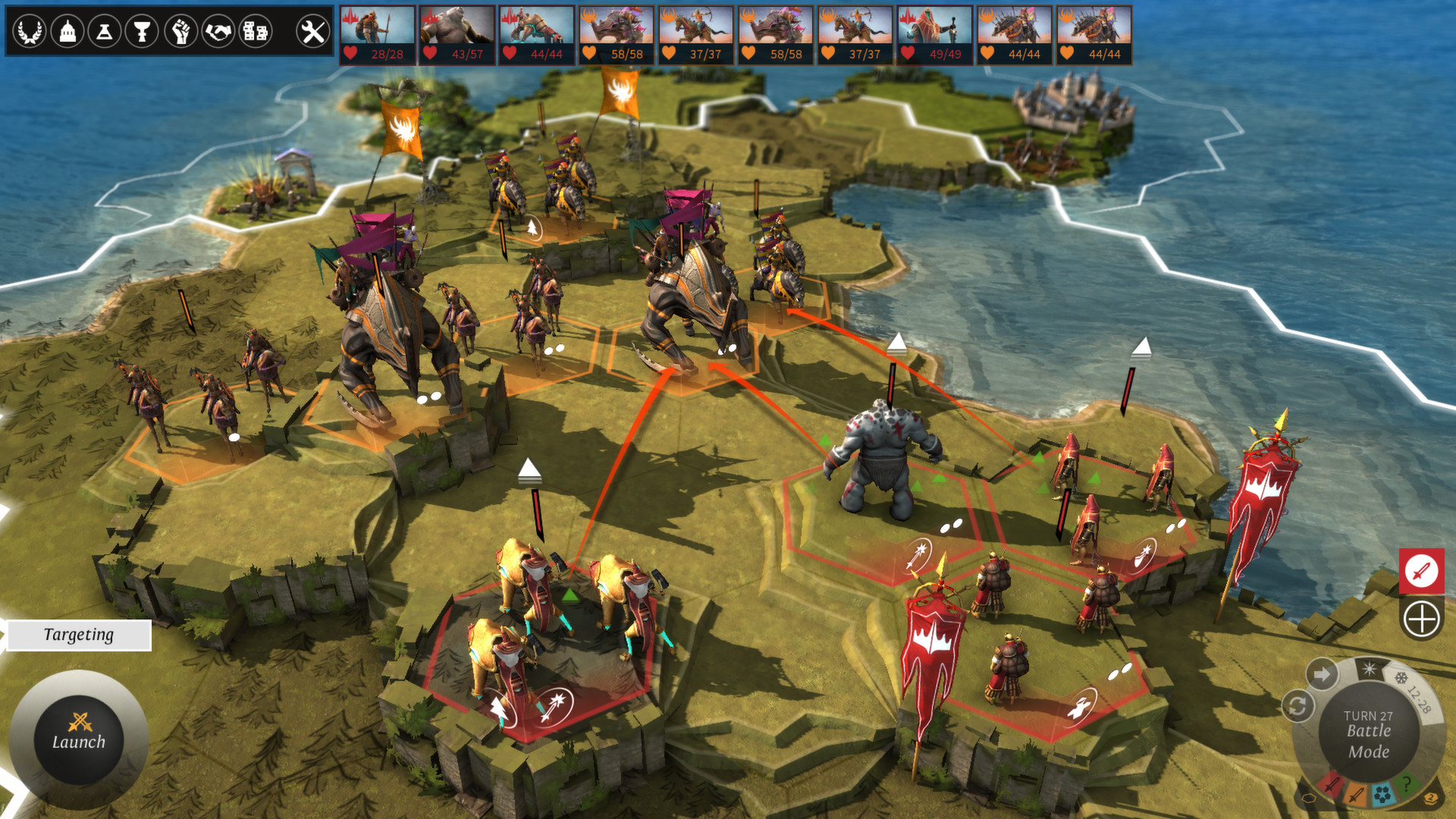 A screenshot of the different factions declaring war in Endless Legend.