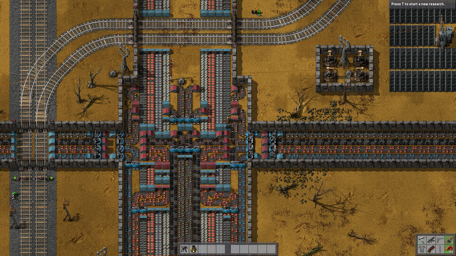 A screenshot of a packed factory in Factorio.