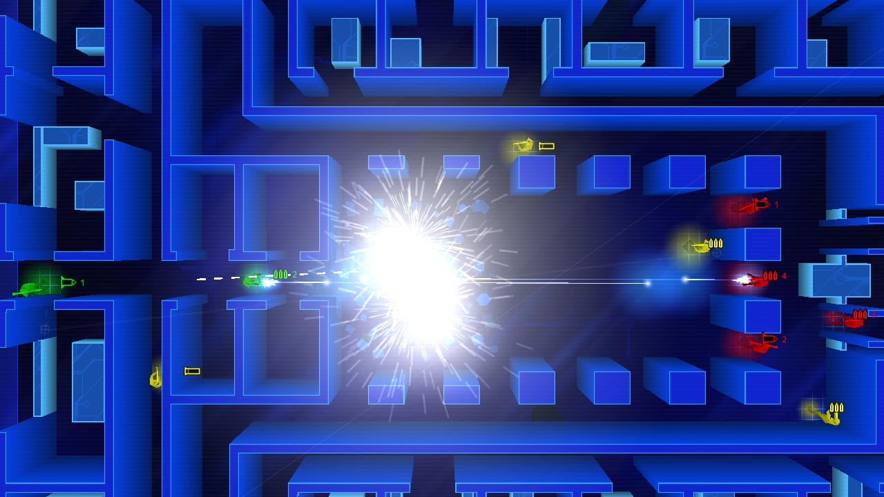 A screenshot showing an explosion of bullets in Frozen Synapse.