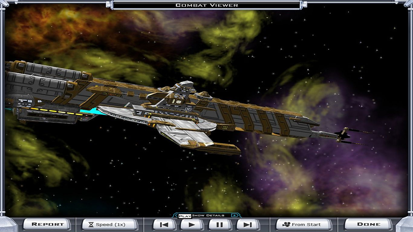 A screenshot of one of Galactic Civilizations 2: Endless Universe's huge spaceships