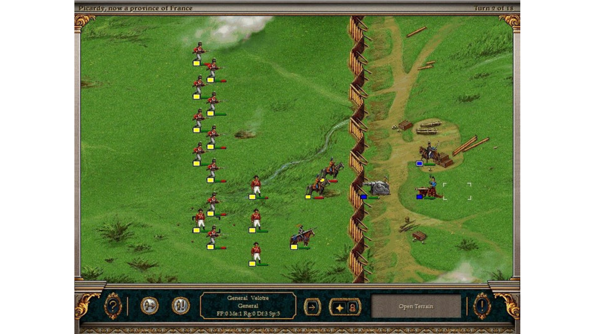A screenshot of Imperialism 2's battle map.