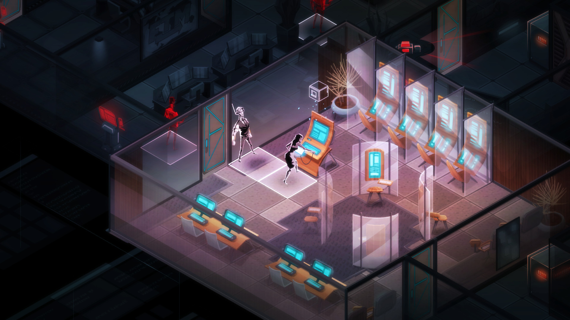 A screenshot of an agent hacking an information terminal in Invisible Inc.