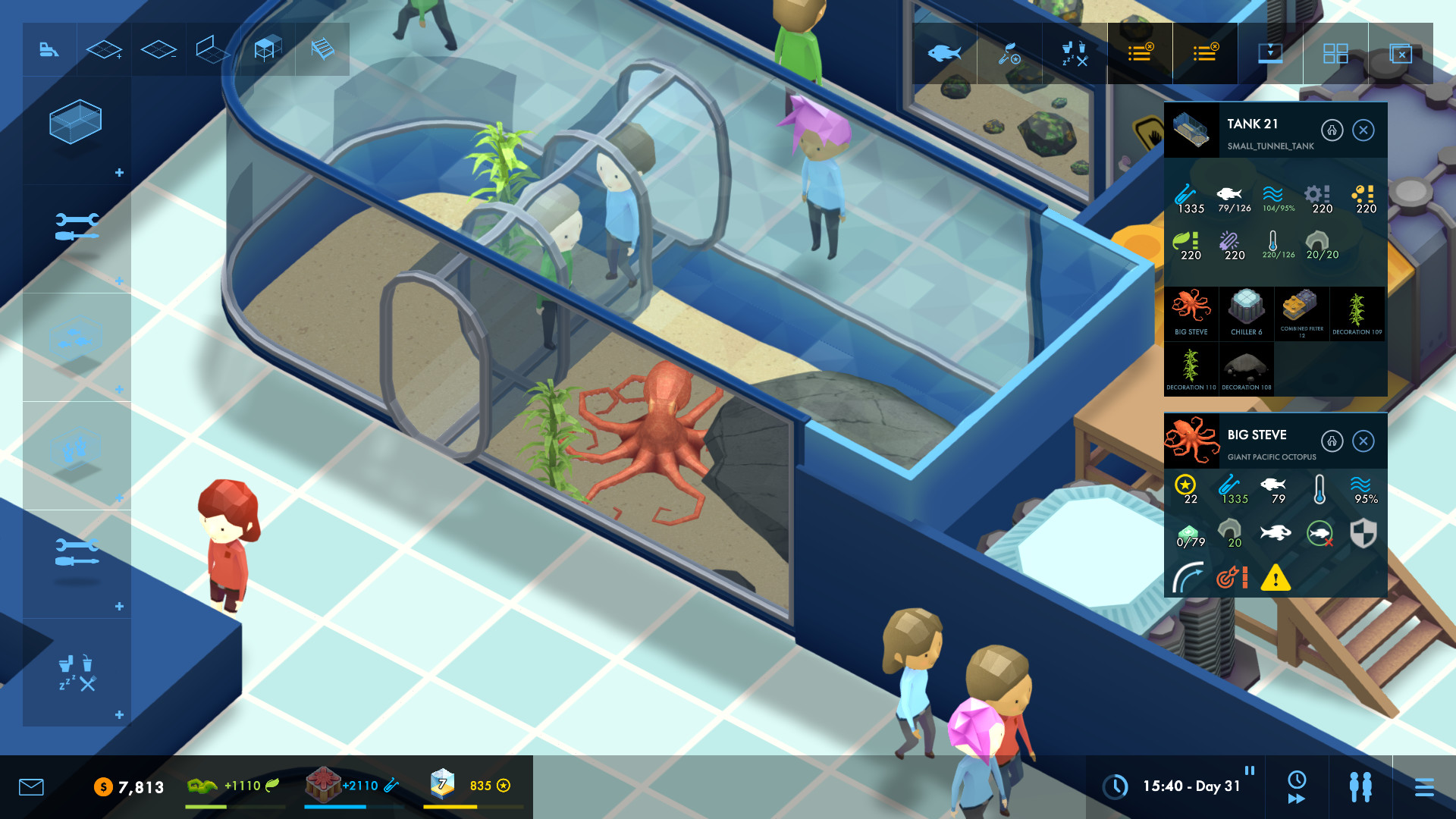 A screenshot of visitors looking at a lovely octopus in Megaquarium.