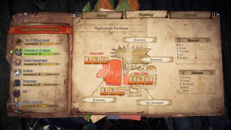 Monster Hunter World Iceborne Nightshade Paolumu field guide