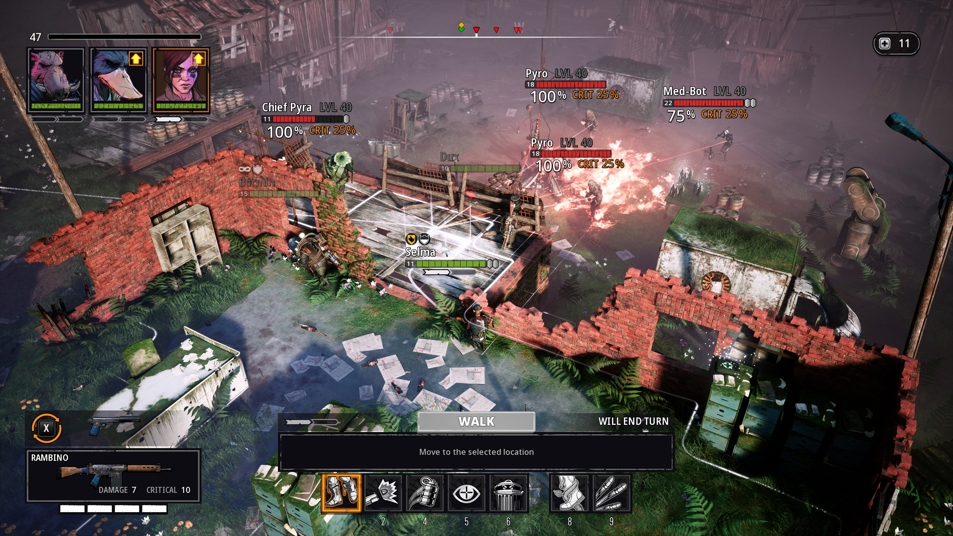 A screenshot showing a tactical battle scene from Mutant Year Zero.