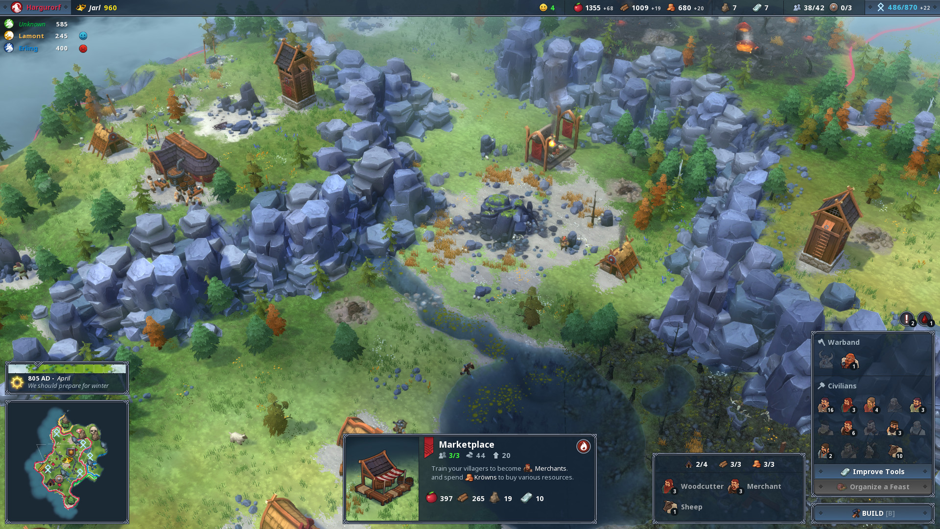 A screenshot of an early settlement in Northgard.