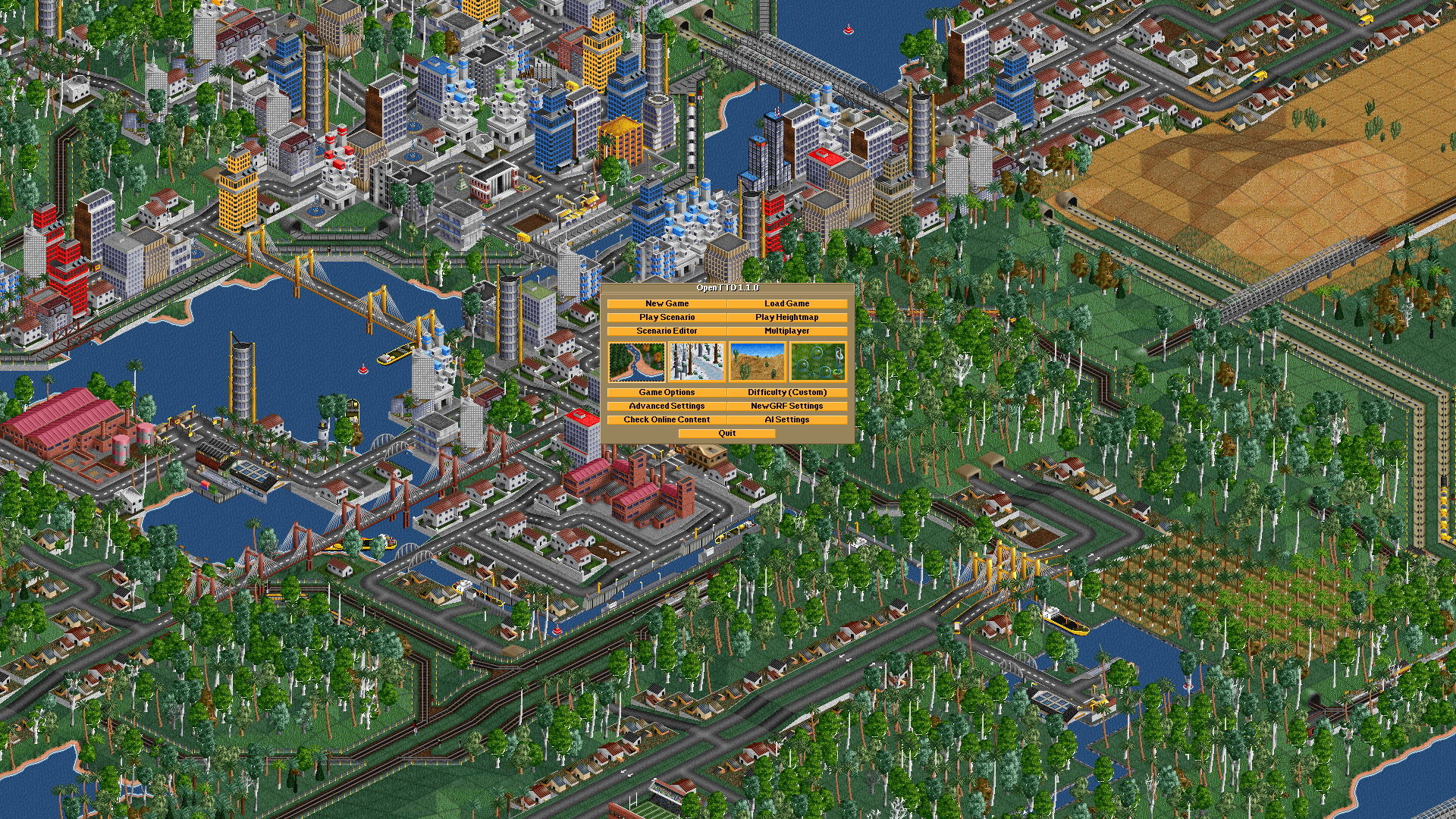 A screenshot showing a top down view of OpenTTD's bustling roadways.