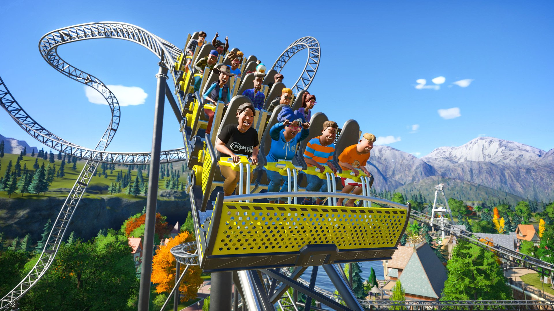 A screenshot of happy rollercoaster riders in Planet Coaster.