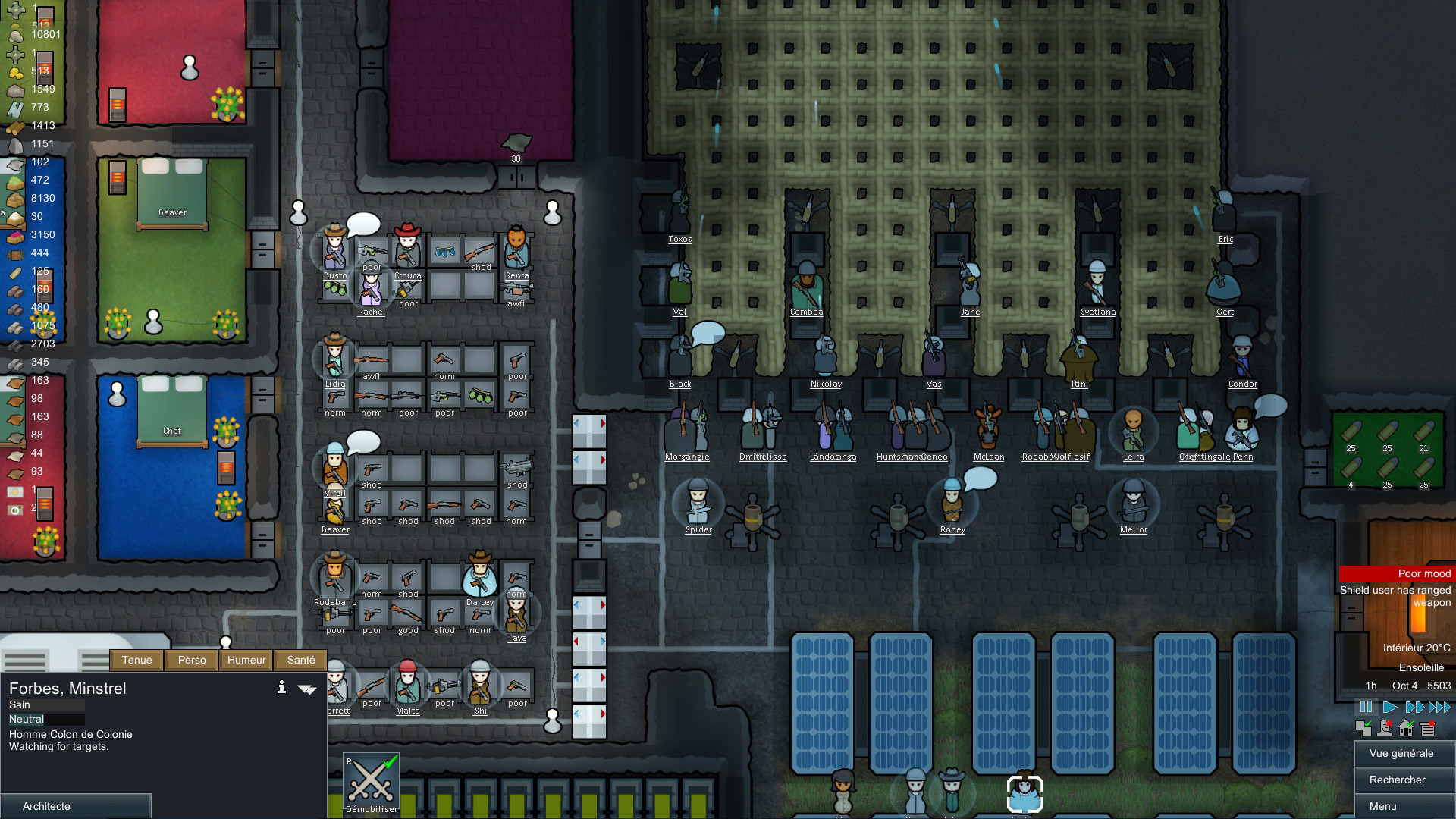 A screenshot of a busy colony settlement in Rimworld.