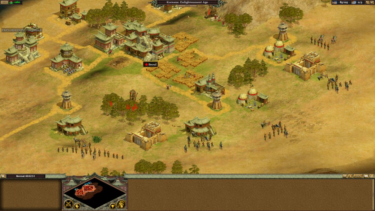 A screenshot of a village in Rise Of Nations.