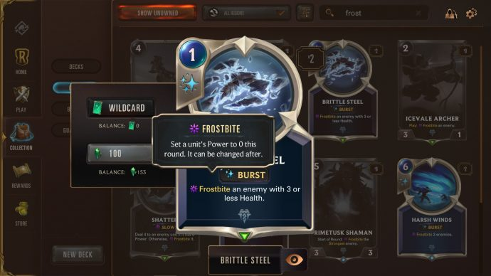 Runeterra keyword Frostbite