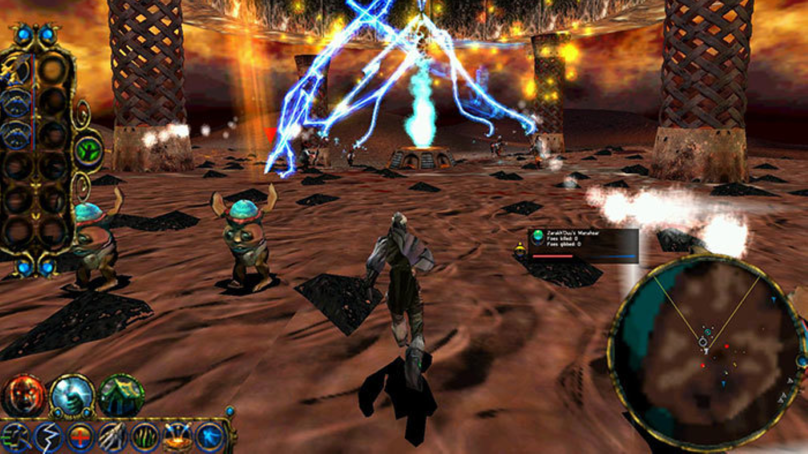 A screenshot of a battle in Sacrifice.