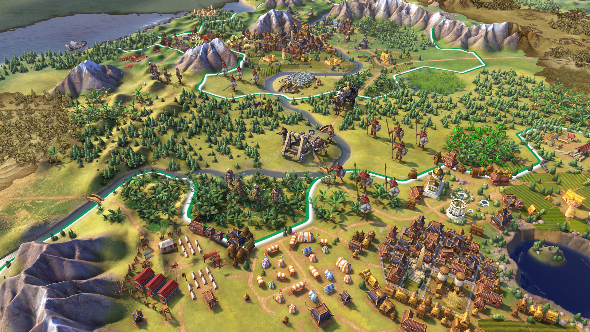 A screenshot of a built up civilization in Sid Meier's Civilization VI.