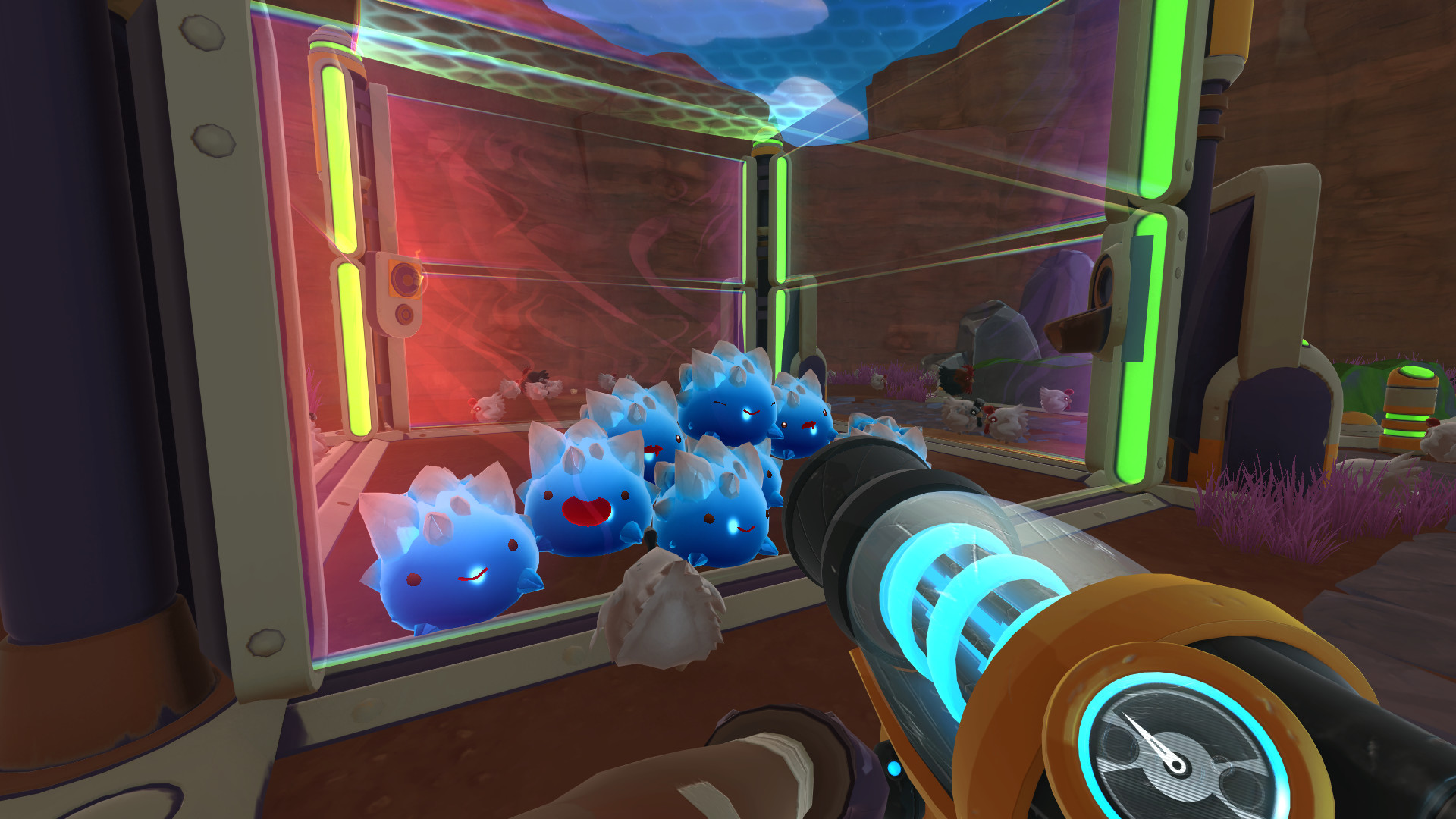 A screenshot of lots of bouncing blue slimes in Slime Rancher.