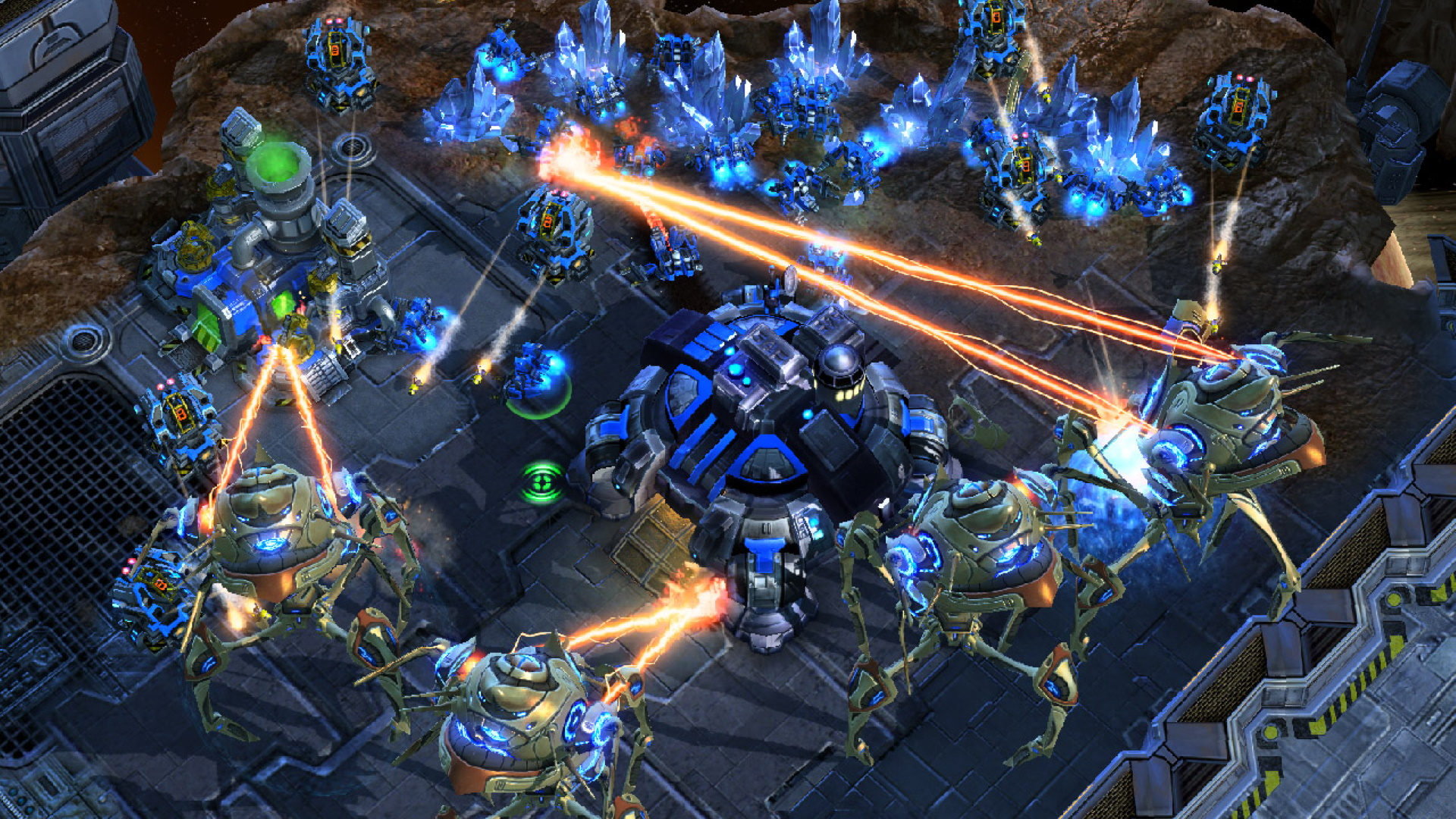 A screenshot of an intense battle encounter in StarCraft II.