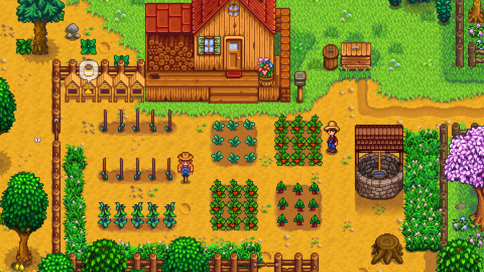 A screenshot of a thriving farm in Stardew Valley.