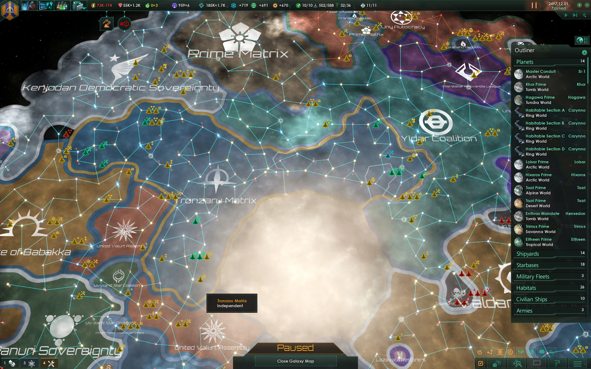 A screenshot of Stellaris's intergalactic map.