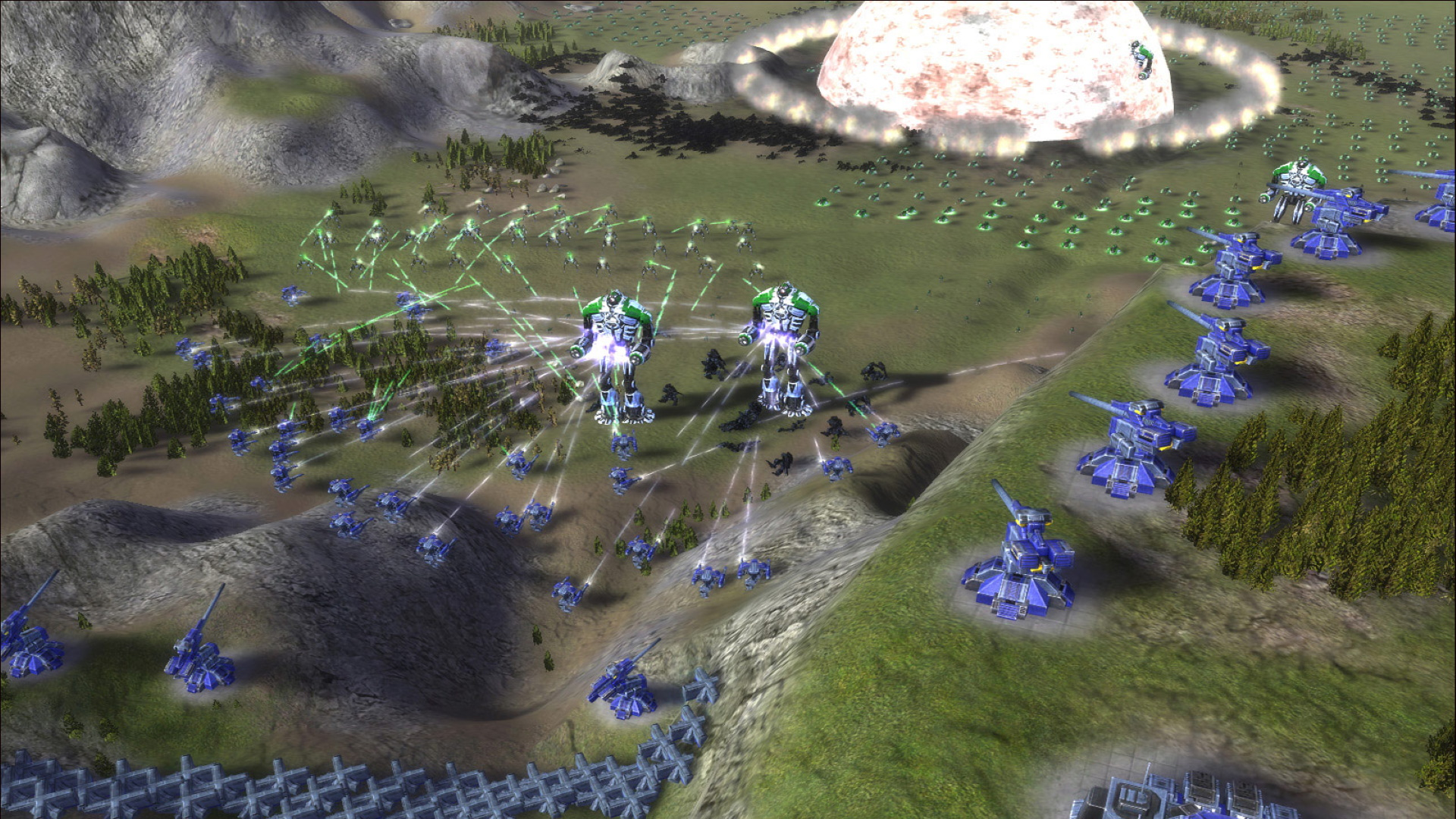 A screenshot of a battle from Supreme Commander: Forged Alliance.