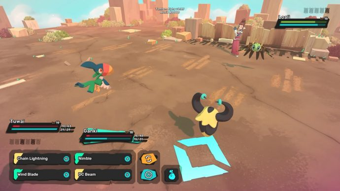 Temtem battle against a Lolai with Tuwaii and Ganki in the party.