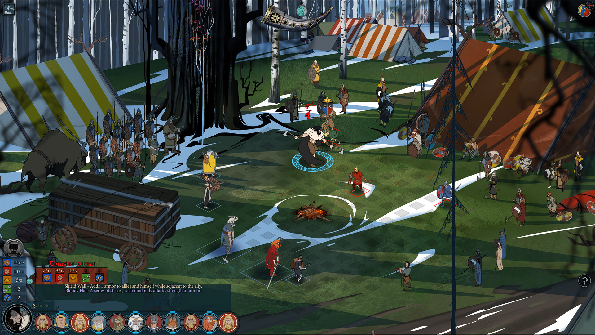 A screenshot of The Banner Saga's isometric battlefield.