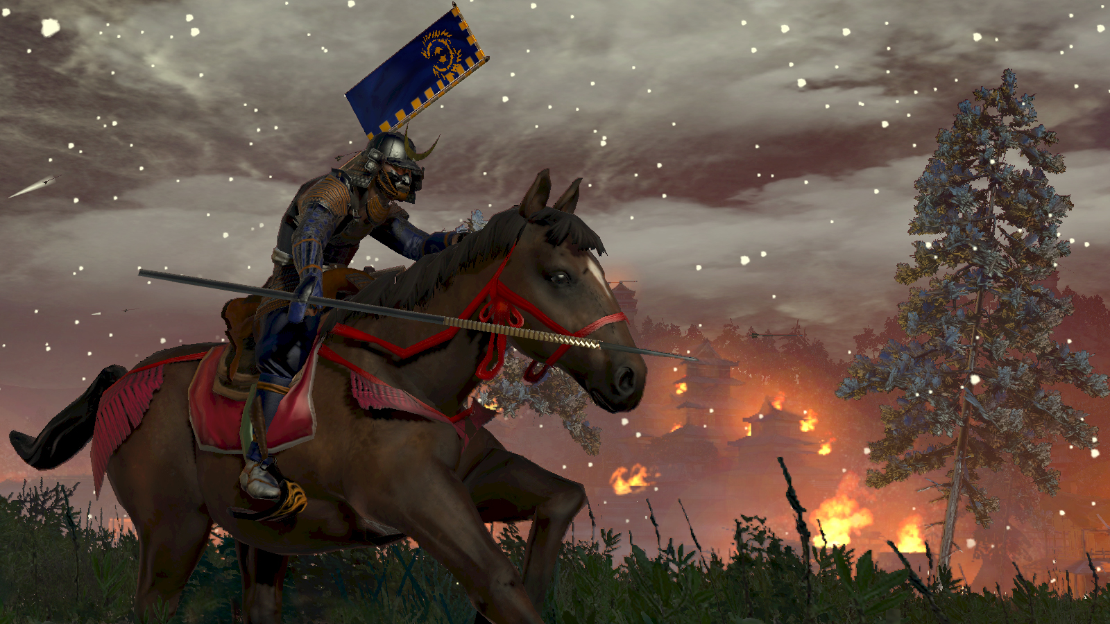 A screenshot of a warrior on horseback in Total War: Shogun 2.