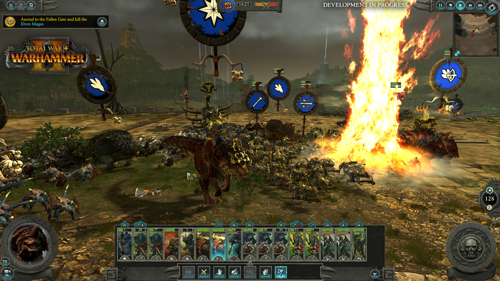 A screenshot of a dinosaur battle scene from Total War: Warhammer II.