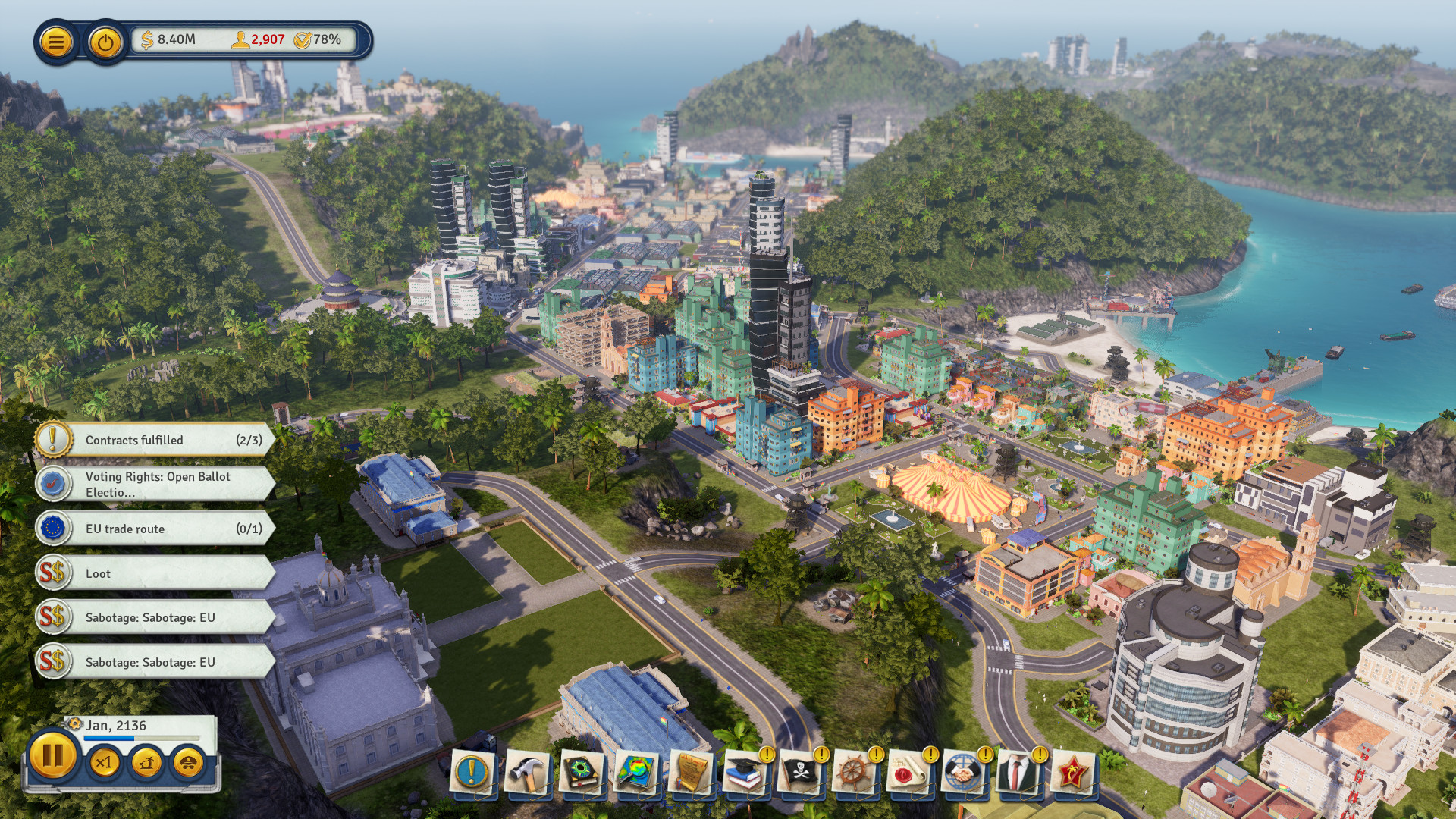 A screenshot of a sunny, seaside city in Tropico 6.