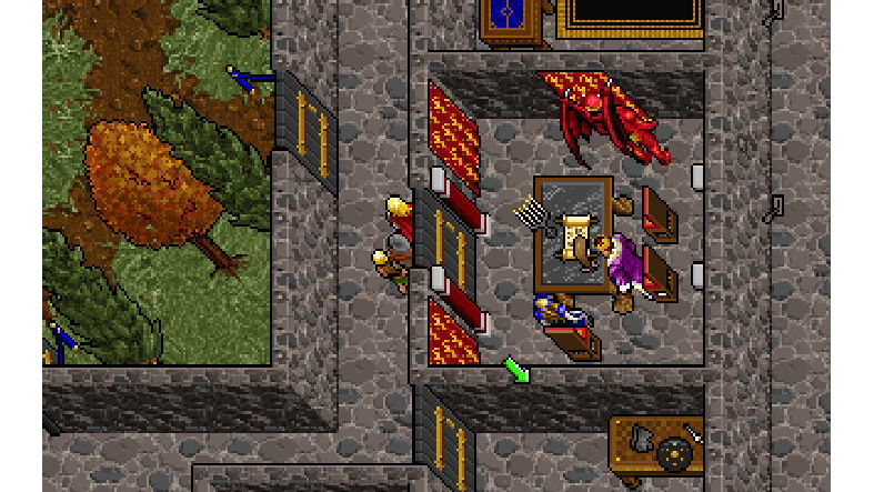 A screenshot of a top-down castle scene in Ultima 7.