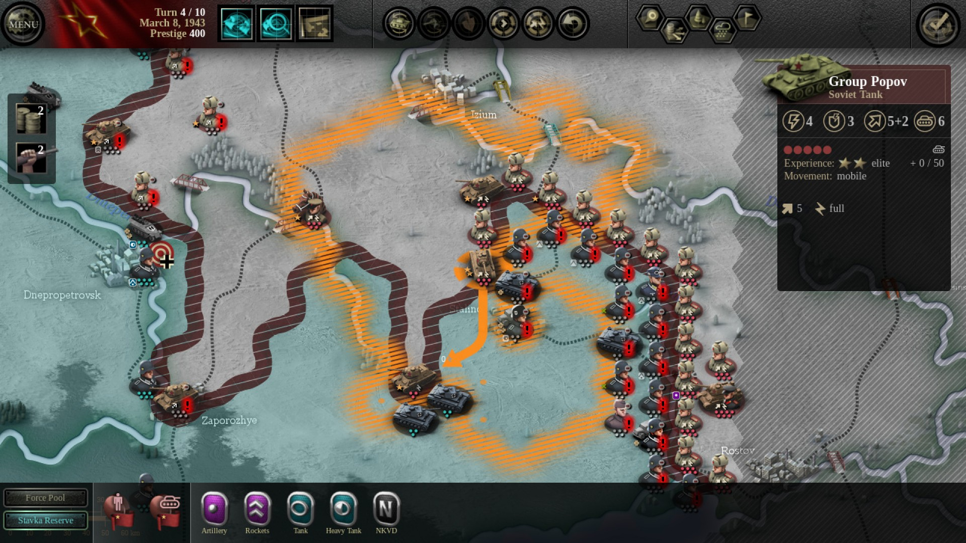 A screenshot of a battle scenario from Unity of Command.