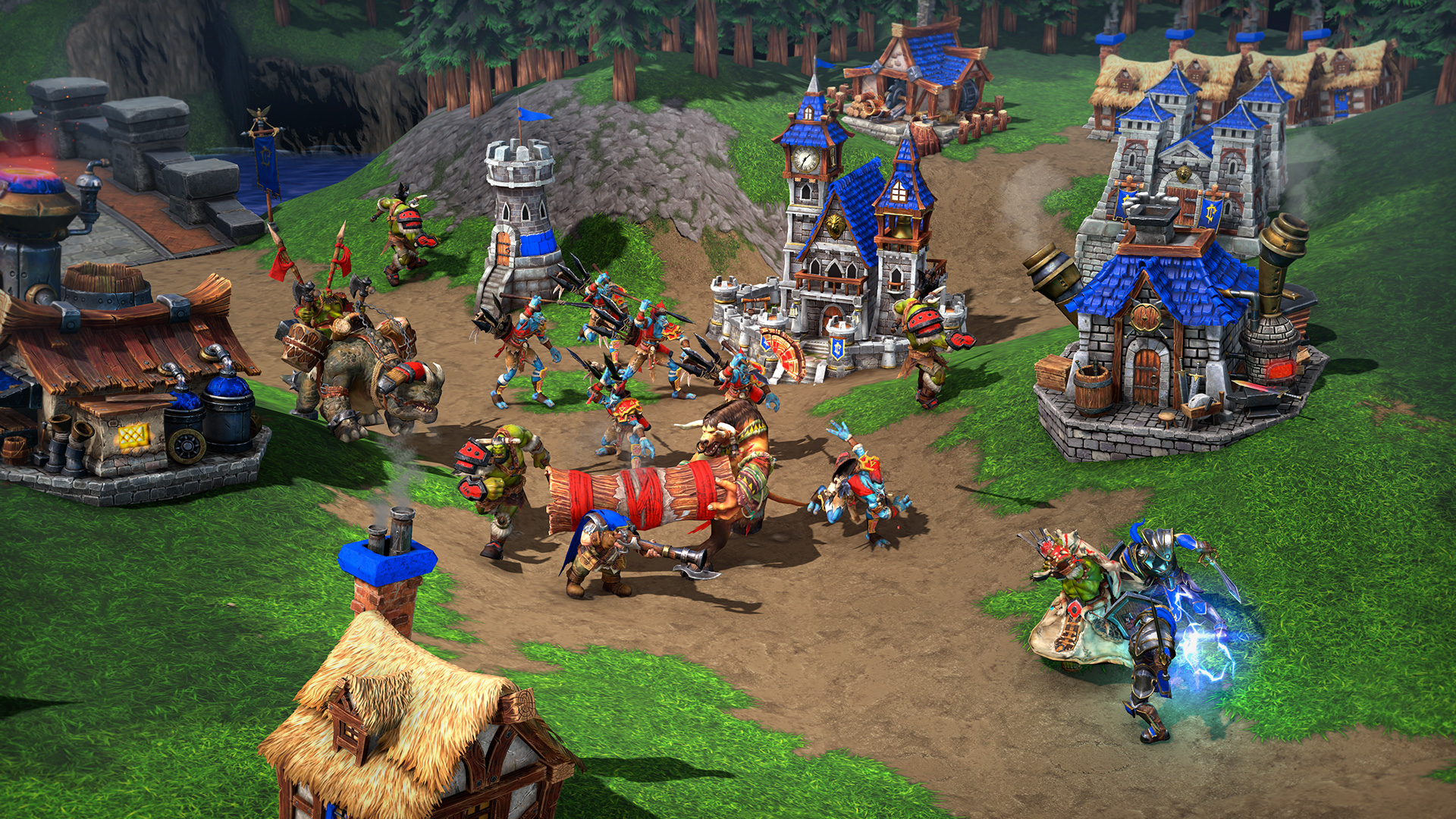A screenshot showing orcs invading a human settlement in Warcraft III: Reforged.
