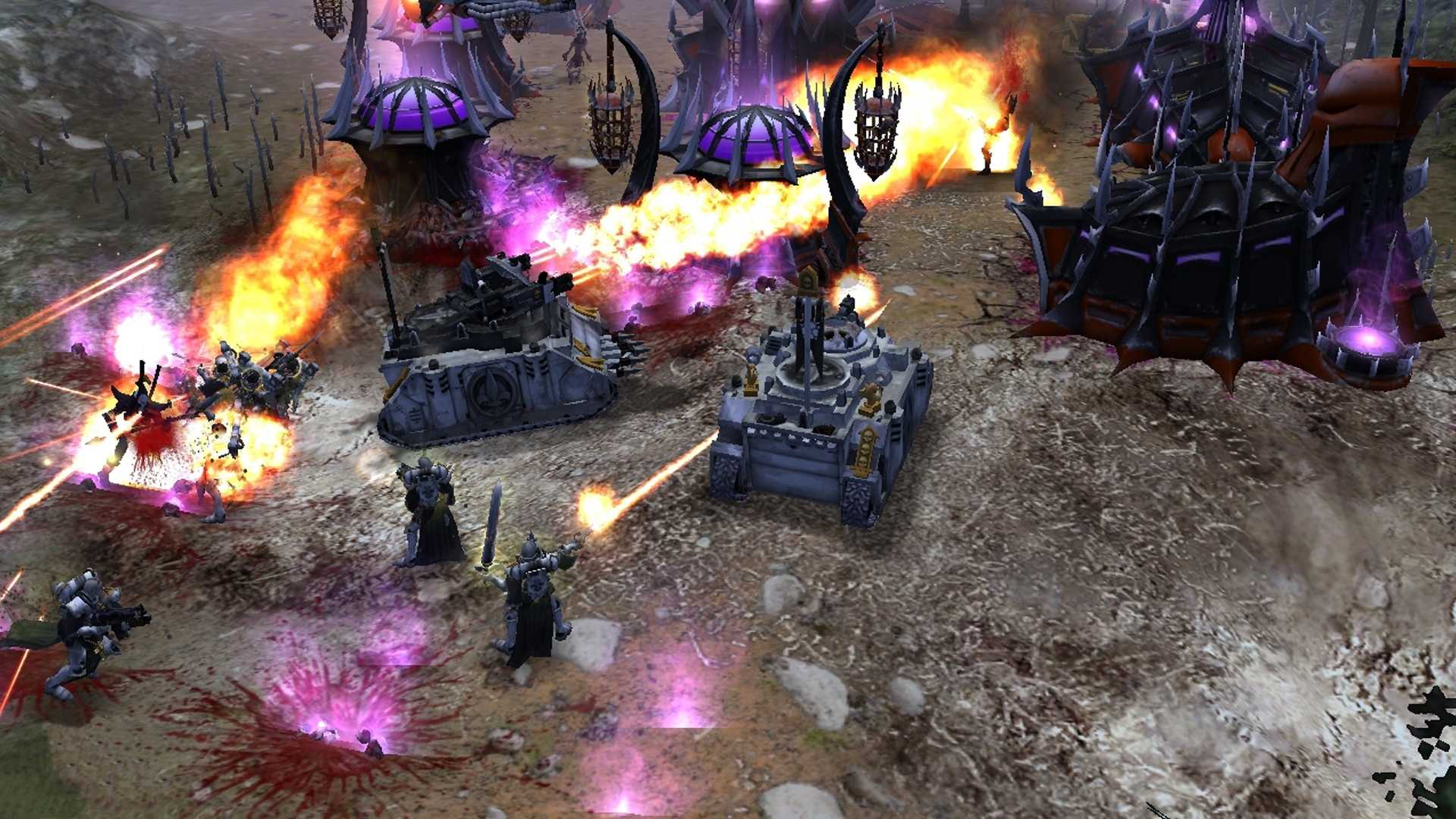 A screenshot of a tank battle in Warhammer 40K: Dawn Of War.