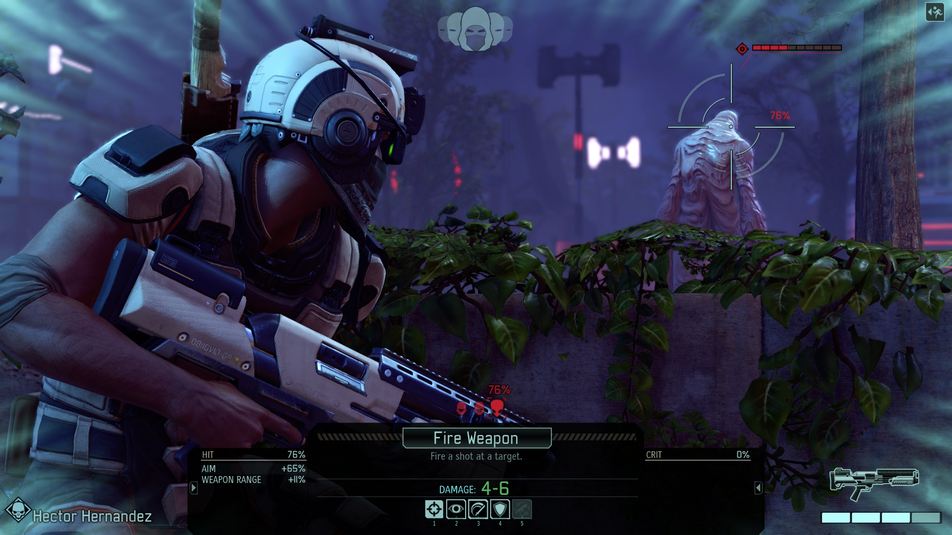 A screenshot of XCOM 2 where your soldier is preparing to fire their weapon on an enemy.