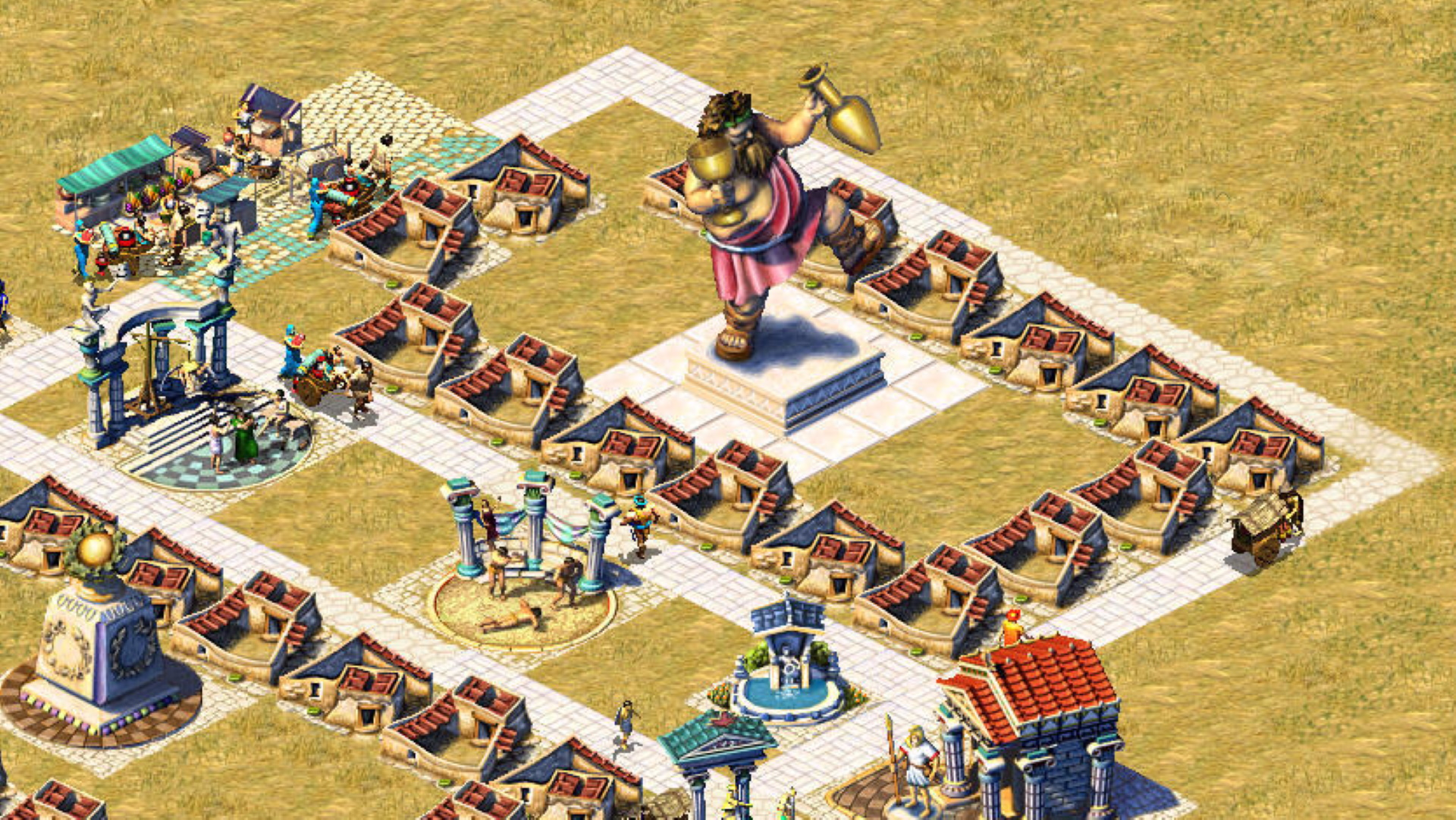 A screenshot showing a residential area in Zeus: Master of Olympus centred around a huge statue of Bacchus the wine god.