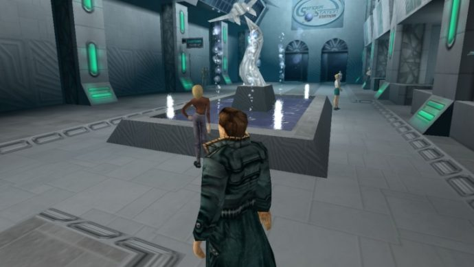A screenshot showing your character next to a fancy fountain in Anachronox.