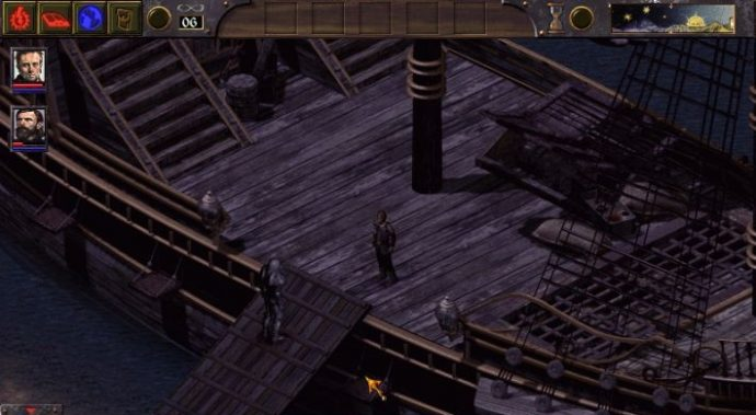 A screenshot of a ship deck from Arcanum: Of Steamworks And Magick Obscura.