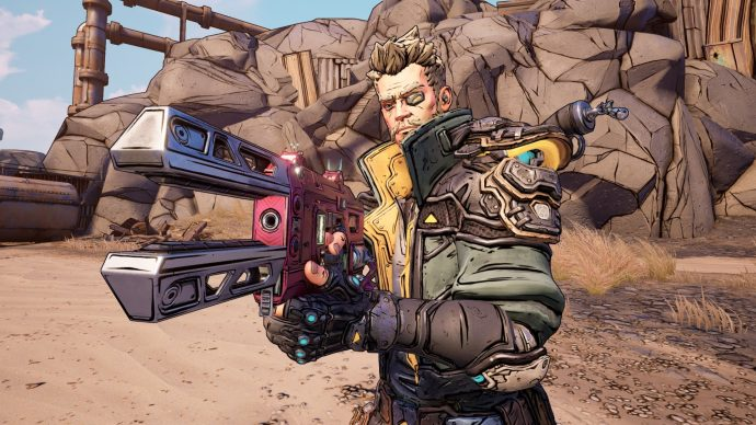 An image of a player holding a fancy gun in Borderlands 3.