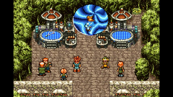 A screenshot of a time portal opening at a fair in Chrono Trigger.
