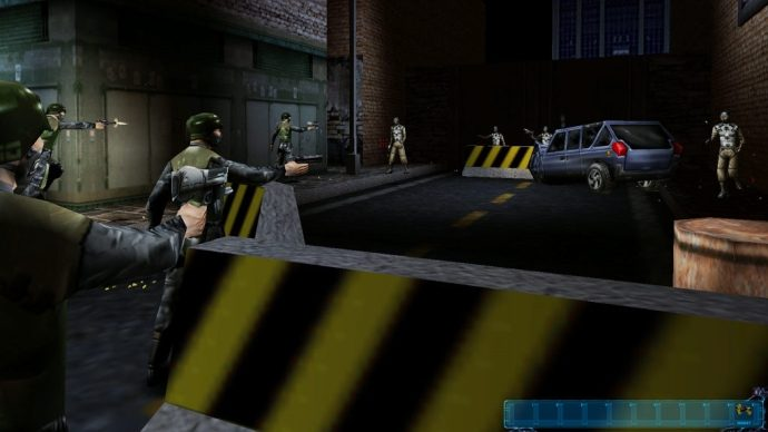 A screenshot of a blockade in Deus Ex.