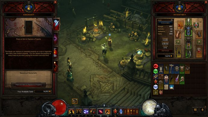 An image of the Enchanting menu from Diablo 3.