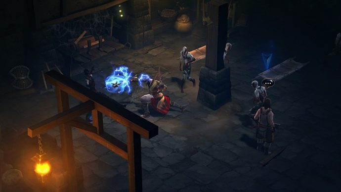 A screenshot of a warrior pummelling enemies in Diablo 3.